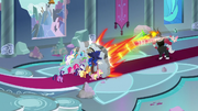 Twilight's friends hold off the villains' attack S9E24