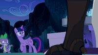 Twilight and Spike greeted by a timberwolf S5E26