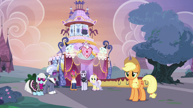 File:AJ, contest ponies, and judges next to rebuilt runway S7E9.png