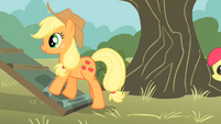 Applejack walking up ramp S01E18