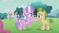 Diamond Tiara touches a colt's mouth S5E18