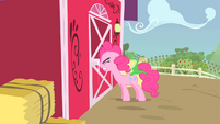 Pinkie Pie banging her head against the door S1E25