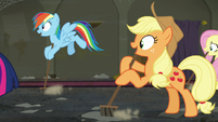 Rainbow, Applejack, and Fluttershy sweeps along with Twilight S6E9