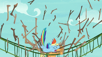Rainbow falls onto Applejack's bridge S8E9