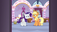 Rarity glaring tearfully at Applejack S7E9
