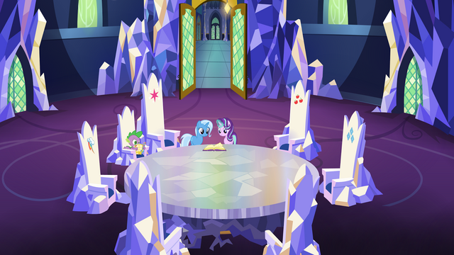File:Spike, Trixie and Starlight in the throne room S7E2.png