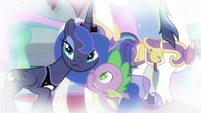 Spike whispers in Princess Luna's ear S9E4