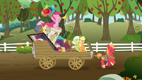 The Apple family and Pinkie on the wagon S4E09