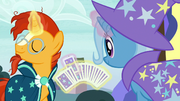 Trixie drawing a card from Sunburst's deck S7E24