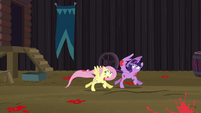 Twilight and Fluttershy run away from falling tomatoes S5E23