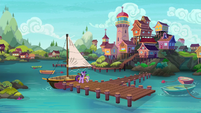 Twilight and Spike at the Seaward Shoals docks S6E22