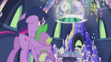 Twilight and Spike look at the time portal S5E25