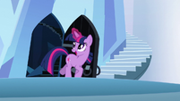 Twilight happily going through the door S3E2