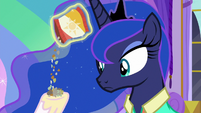 Celestia pours travel snacks into her hoof S9E13