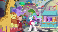 Celestia surrounded by stuffed toys S9E13