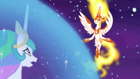 Daybreaker hovering outside Celestia's barrier S7E10