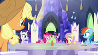 Main ponies staring at Pinkie S5E22