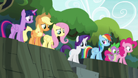 Mane 6 and Spike at the top of stairs S4E25