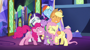 Mane Six and Spike group hug S5E03