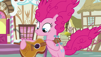 Pinkie Pie blows smoke off of guitar S7E9