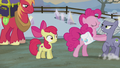 Pinkie pushing Limestone away from Apple Bloom S5E20.png