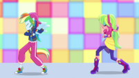 Rainbow Dash and Lemon Zest dance posing EGS1