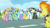 Rainbow and Lightning Dust put their hooves up S3E7
