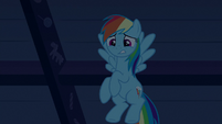 Rainbow looks down at zombie Pinkie and Cakes S6E15