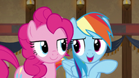 "Rainbow whispers to Pinkie ""chapter seventeen"" S7E18"