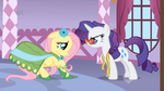 Rarity asking Fluttershy about the dress S1E14