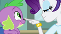 Rarity pokes Spike's nose EG.png