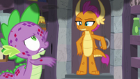 Spike fanning the smoke away S8E11