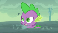 Spike swimming to the island S6E5