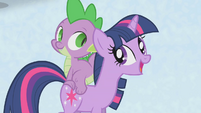 Twilight and Spike at song's big finish S1E11