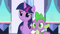 Twilight and Spike listen to Princess Celestia EG