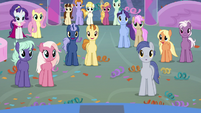 Amity Ball ponies listening to Spike S9E7