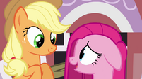 Applejack and Pinkie Pie smiling S03E13