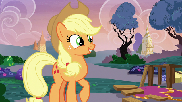 File:Applejack smiling near the disassembled runway S7E9.png