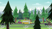 Canterlot High School bus and red car on the highway EG4
