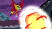Demon Sunset Shimmer hurls fireball EG