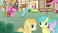 Fillies hear Rainbow Dash mention pies S7E23.png