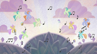 Hippogriffs dancing over Harmonizing Heights S8E16