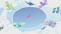 Pegasi pushing clouds over the lake S1E11