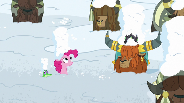 File:Pinkie, Rutherford, and yaks covered in snow S7E11.png