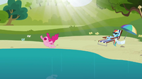 Pinkie Pie jumping into the water from swing again S3E3