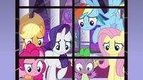Ponies and Spike look out the window S9E17