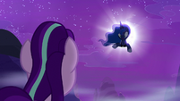 Princess Luna appears from inside the moon S6E25