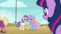 Princess fan girls staring at Twilight Sparkle S7E22