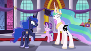 Princesses Celestia and Luna look at their switched cutie marks; Starlight worried S7E10