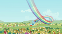 Rainbow Dash flies over Ponyville S2E22